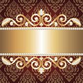 Altın takı çerçeve ve inciler — Stok Vektör