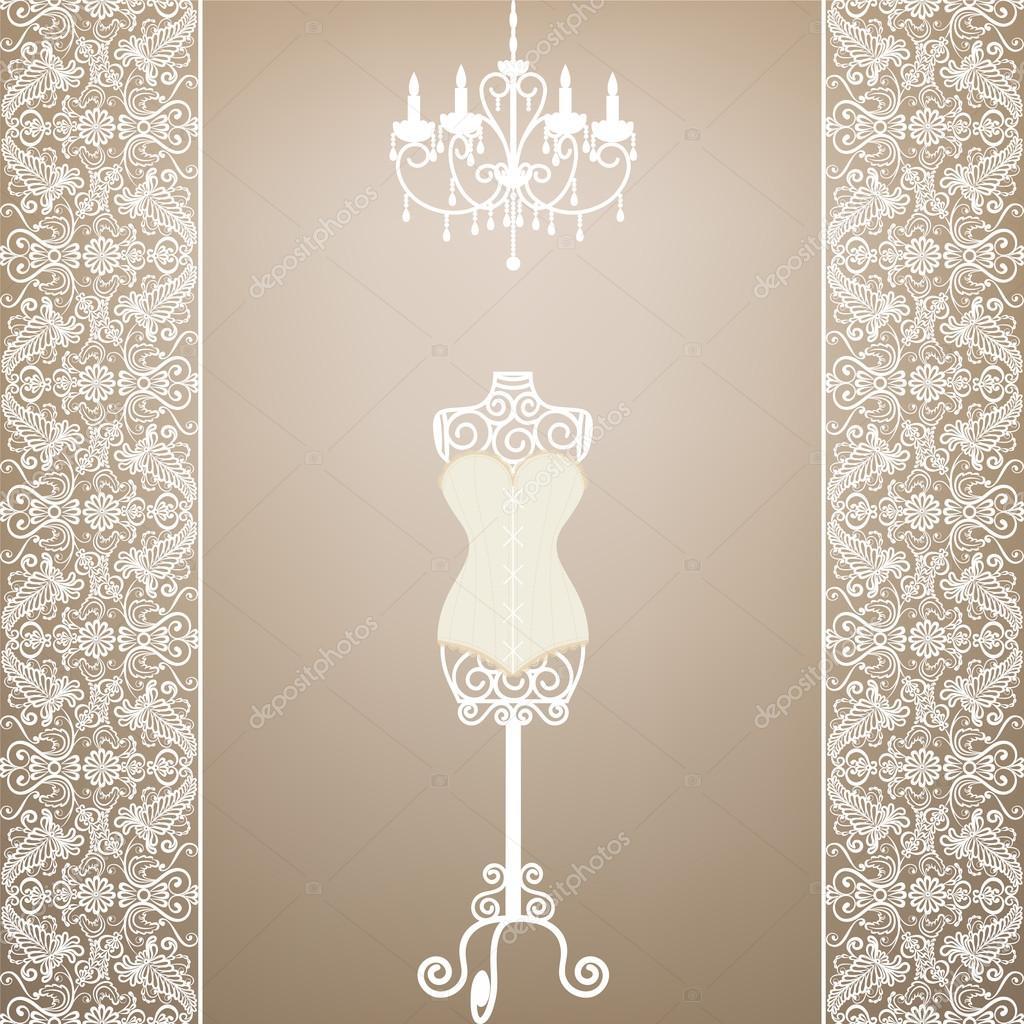 复古卡与模特和枝形吊灯带花边边框 — 矢量图片作者 prikhnenko