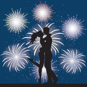 Lover and fireworks — Stock Vector
