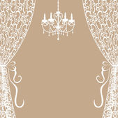 Chandelier and curtains — Stock Vector