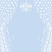Curtains and chandelier — Vector de stock