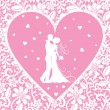 Kissing groom and bride on lace background — Stock Vector