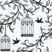Birds flying and cage — Vector de stock