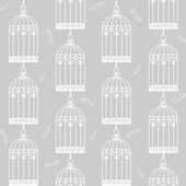 Birdcages and feathers — Stock Vector