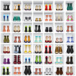 shoes on shelves of shop — Stock Vector