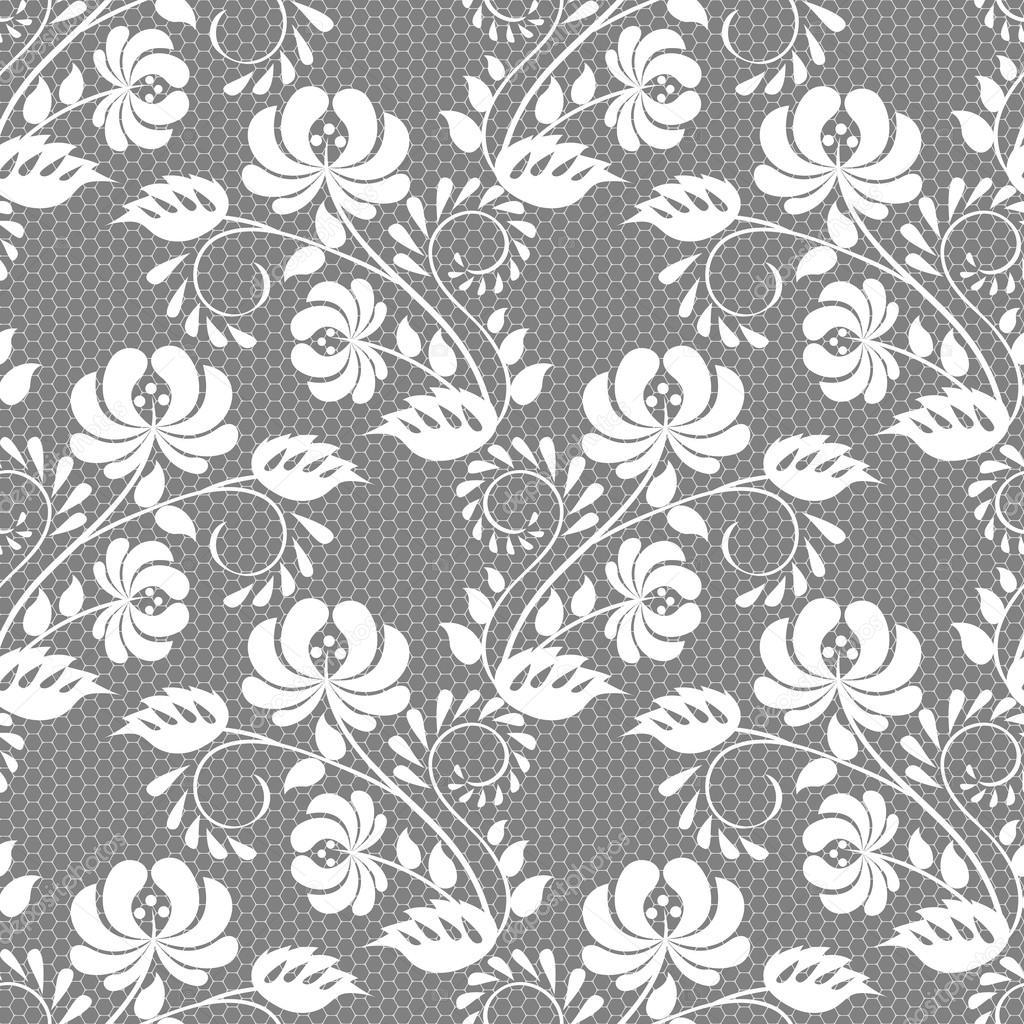 Decorative Lace Fabric Blanc