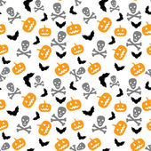 Pumpkins, bats and skull — Stock Vector