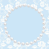 Lace and pearl frame — Stock Vector
