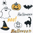 Doodle halloween seamless background — Stock Vector