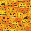 Stock Vector: Halloween background with pumpkins