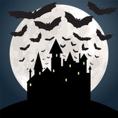 Moon, castle and bats — Stockvektor