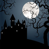 Castle , tree and moon — Vector de stock