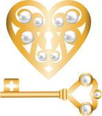 Klíč a zámek ve tvaru srdce — Stock vektor
