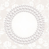 Pearl necklace and lace backgrouns — Stock Vector