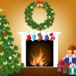 Stock Vector: Christmas tree, gift and fireplace