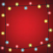 Christmas Colorful Bulb Garland on Red Background — Stock Vector