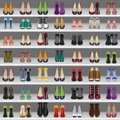 Shoes on shelves in shop — Stock Vector