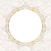 Pearl frame on white lace background — Stockvektor