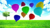 Balloons party happy birthday decoration — Stock Photo