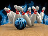 Bowling  Game Strike rot — Stock Photo