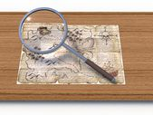 Map through a magnifying glass — Stockfoto
