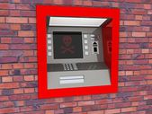 View of ATM in an isolated white background — Stock Photo