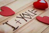 Inscription I + you = love — Stock Photo