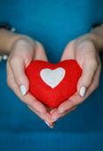 Heart in girl's hands — Stock Photo