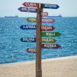 Road sign in beach — Stock Photo #50483407