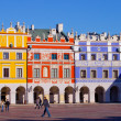 The main market square in the old town of Zamosc - Stock Photo