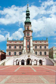 The main market square in the old town of Zamosc. It is on the U — Stock Photo