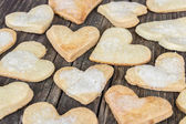 Heart of the cookies and the wooden background. — 图库照片