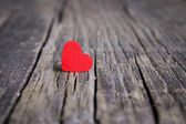 Red heart on wooden background, Valentines Day. — Stock Photo