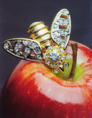 Still life with red apple and golden bee brooch — Stockfoto