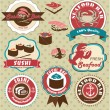 Sushi & Seafood labels — Vector de stock