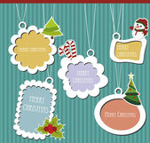 Labels collection of Christmas — Stock Vector