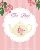Cartão de festa do chá — Vetor de Stock