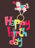 Circus Happy Birthday card — Stock Vector