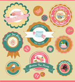 Garden party labels — Stock Vector