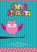 Happy Birthday card with owl — Stock Vector
