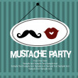 Mustache bash card — Vector de stock #27049385