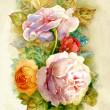 Watercolor Flower Collection: Roses — Stock Photo