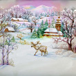 Watercolor Landscape Collection: Winter Village Life — Stock Photo #13967908