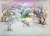 Watercolor Landscape Collection: Winter Village Life — Stock Photo