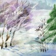 Watercolor Landscape Collection: Winter — Stock Photo