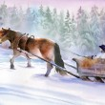 Horses running in winter — Stock Photo