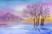 Watercolor Landscape Collection: Winter landscape — Stock Photo