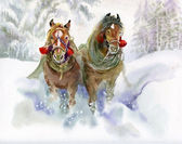 Horses running in winter — Stock Photo
