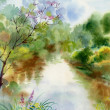 Watercolor Landscape Collection - Stock Photo