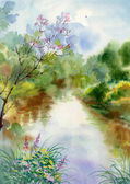 Watercolor Landscape Collection — Stock Photo